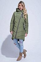 Пальто демисезонное, плащевая ткань, 40-48, оливковый