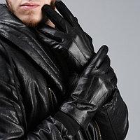 """Перчатки мужские """"Луч"""", 3 полоски, подклад трикотаж, р-р 10, длина-24см, чёрные"""