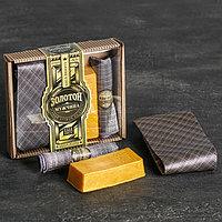 """Подарочный набор (галстук, платок-сигара, фигурное мыло) """"Золотой мужчина"""""""