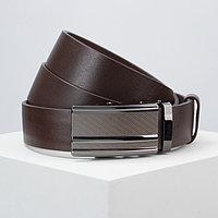 Ремень мужской, ширина 3,5 см, пряжка металл, цвет коричневый