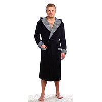 Халат мужской запашной с капюшоном, цвет тёмно-серый, размер 48