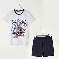 Комплект для мальчика (футболка+шорты), рост 122 см (7 лет), цвет тёмно-синий/белый Н463