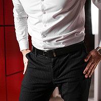 Ремень мужской, гладкий, пряжка тёмный металл, ширина - 3 см, цвет чёрный