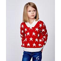 """Свитер детский """"Звёзды"""", рост 104-110 см, цвет красный/белый"""