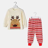 Пижама детская, цвет бежевый/красный, рост 122 см (64)