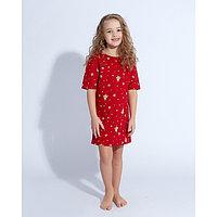 """Сорочка для девочки MINAKU """"Ёлки"""", рост 122, цвет красный"""
