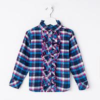 Рубашка для девочки, цвет синий, рост 128 см