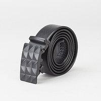 Ремень мужской, гладкий, пряжка - автомат матовый металл, ширина - 3,8 см, цвет чёрный