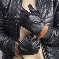 Перчатки мужские, р-р 11.5, гладкие, подклад флис, цвет чёрный/коричневый