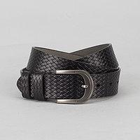 Ремень мужской, плетение, пряжка тёмный металл, ширина - 3,5 см, цвет чёрный