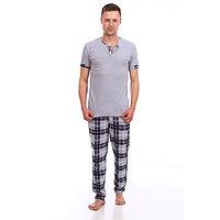 Костюм мужской (футболка, брюки), цвет серый, размер 54