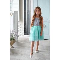 Платье нарядное детское KAFTAN, рост 86-92 см (28), серый, бирюзовый