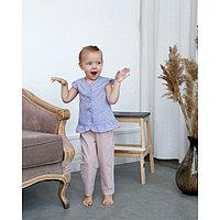Блузка с короткими рукавами для девочки MINAKU, рост 104, цвет фиолетовый/белый