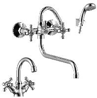 Смеситель Rossinka Sivermix SET02-50 набор 2 в 1 (для ванны+для раковины)