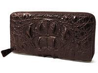 Клатч-портмоне мужской на молнии с эффектом мятой «турецкой» кожи 1809-208 (Шоколадный)