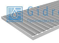 Решетка Gidrolica Step Pro 390х590мм - стальная ячеистая оцинкованная - прессованный настил Гидролика