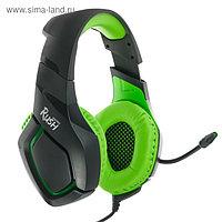 Наушники SmartBuy RUSH SKYTHE, игровые, полноразмерные,микрофон, 3.5мм, 2.2 м, черно-зеленые