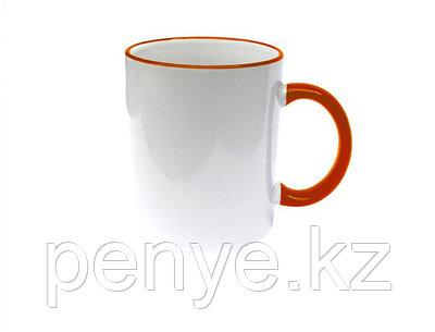 Кружка керамическая белая с оранжевым