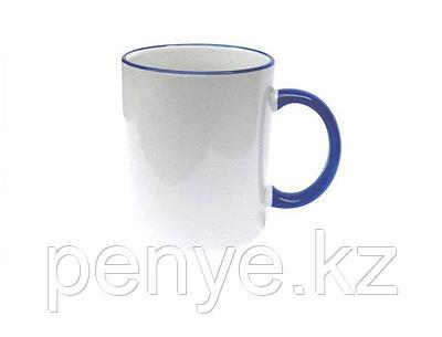 Кружка керамическая белая с синим