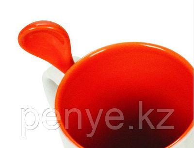 Кружка керамическая белая c оранжевым