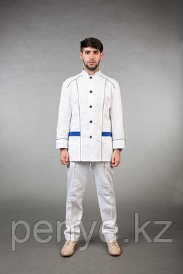 Комплект шеф-повара белый с синей отделкой
