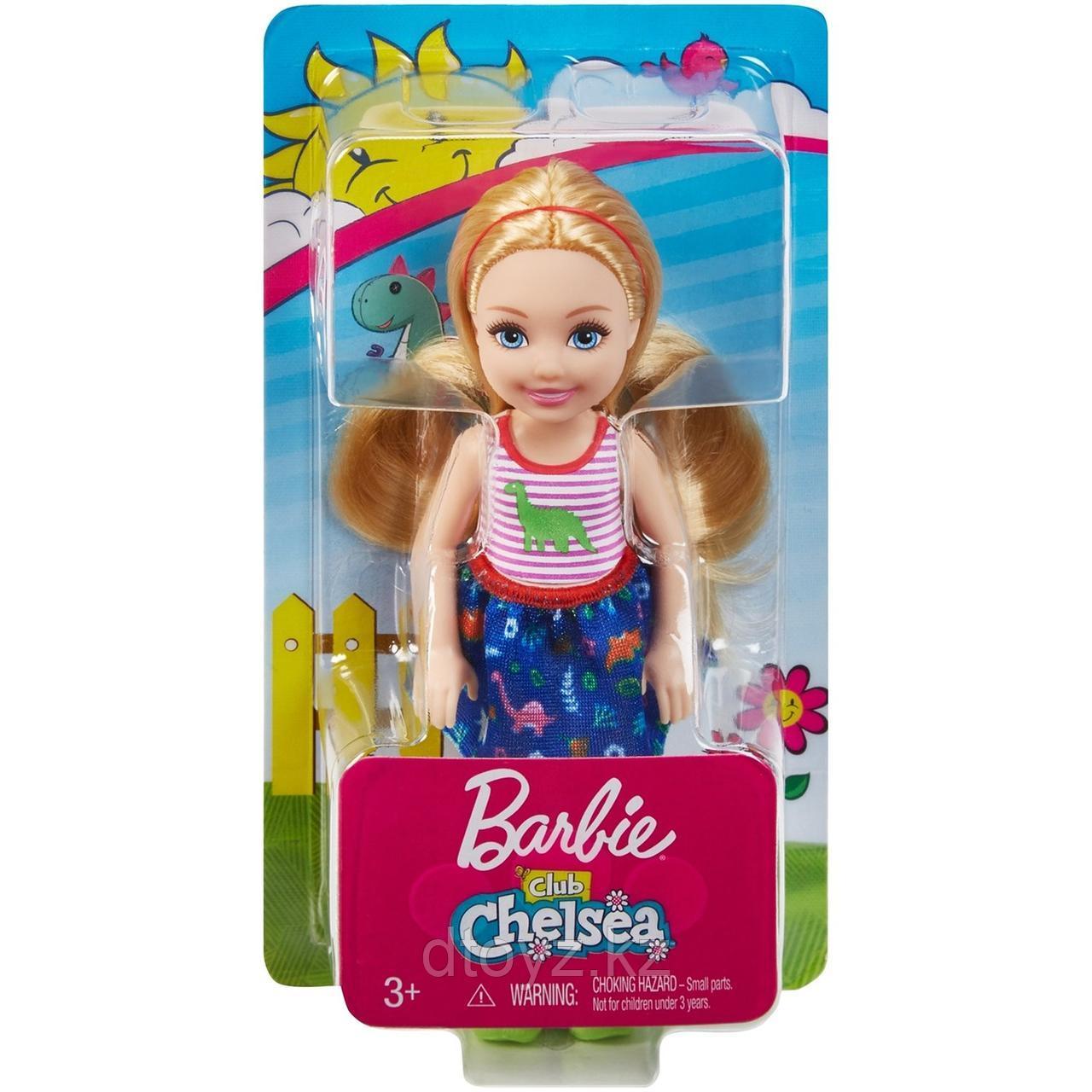 Barbie Челси Блондинка в топе с динозавром FXG82