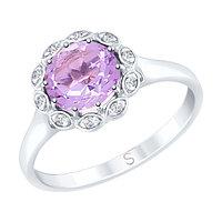 Серебряное кольцо с аметистом и фианитом SOKOLOV 92011639