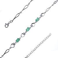 Серебряный браслет с изумрудом и натуральным бериллом (o) TEOSA B-DRGR00620-EM