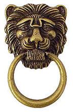 Ручка-кольцо, 'Лев с кольцом', 'Empire' 58х33мм, латунь пат., накл. , винт,, 12500.05800.03