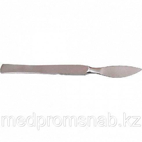 Скальпель ветеринарный брюшистый 150х40 средний, углеродистая сталь,Свб