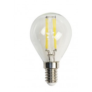 Лампа светодиодная филамент (11W) 230V E14 4000K филамент G45 прозрачная