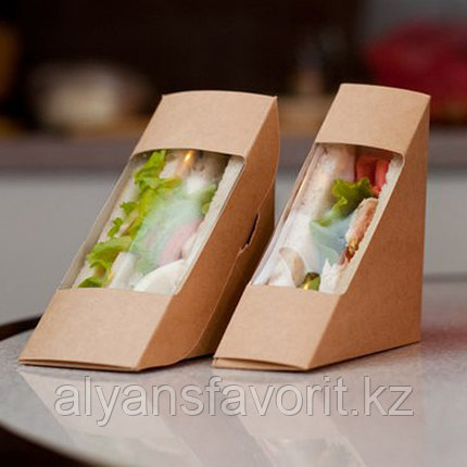 Упаковка для сендвичей ECO SANDWICH 70, размер: 130*130*70 мм. РФ, фото 2