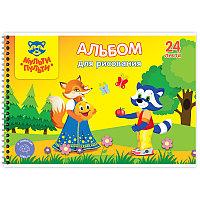 Альбом для рисования 24л А4 Мульти-Пульти спираль, с раскраской А24сп_