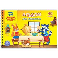 Альбом для рисования 40л А4 Мульти-Пульти спираль, с раскраской А40сп_