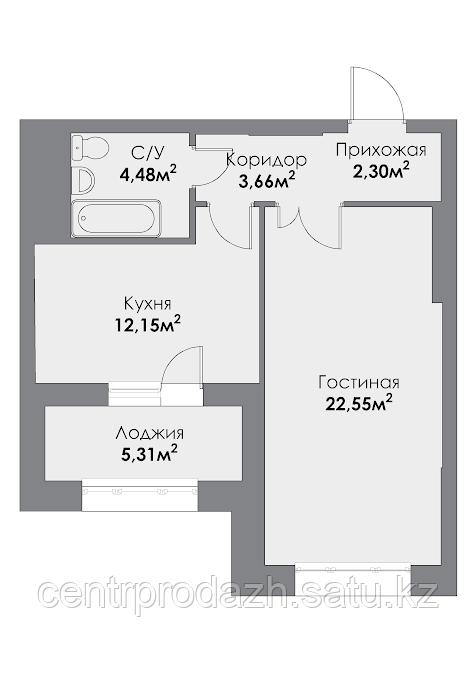 1 комнатная квартира в ЖК ParkAvenueExclusive 49.12 м²
