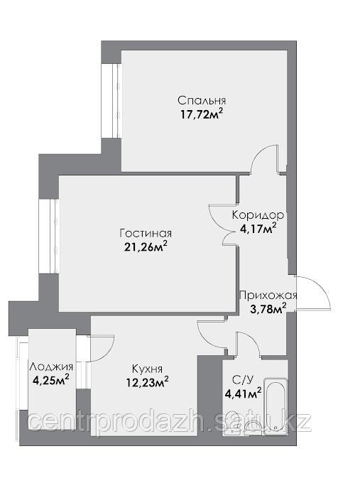 2 комнатная квартира в ЖК ParkAvenueExclusive 66.76 м²