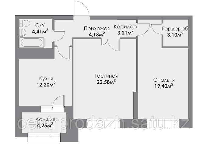2 комнатная квартира в ЖК ParkAvenueExclusive 72.22 м²