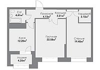 2 комнатная квартира в ЖК ParkAvenueExclusive 72.22 м², фото 1
