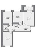 3 комнатная квартира в ЖК ParkAvenueExclusive 94.15 м², фото 1