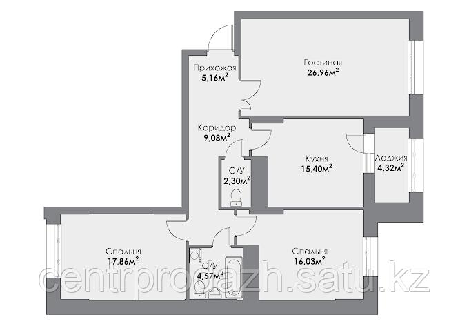 3 комнатная квартира в ЖК ParkAvenueExclusive 100.6 м²