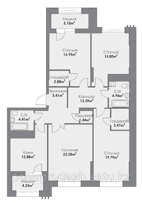 4 комнатная квартира в ЖК ParkAvenueExclusive 128.95 м²