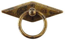 Ручка-кольцо, *Poor Art* 73х46мм, латунь пат., ромб. накл., винт