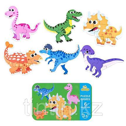 Набор из 6 пазлов в железной банке - Динозавры, фото 2