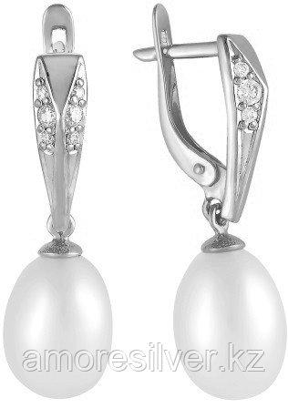 Серьги из серебра с фианитом и жемчугом культ.   Teosa 290-5-646Р