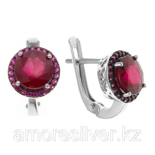 Серебряные серьги с рубином нат.    Teosa h