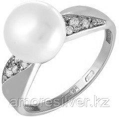 Кольцо из серебра с фианитом и жемчугом культ.   Teosa 190-5-637Р размеры - 18