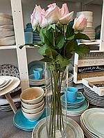 Искусственные цветы,Нежная розовая роза,материал силикон,высота 35 см