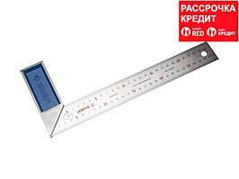 ЗУБР Профессионал 300 мм усиленный столярный угольник с нержавеющим полотном (34393-30)