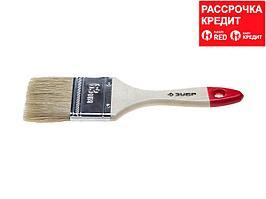 Кисть плоская малярная ЗУБР 4-01001-063, УНИВЕРСАЛ-СТАНДАРТ, натуральная щетина, деревянная ручка, 63 мм