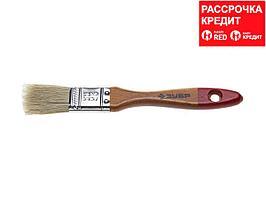 """Кисть плоская ЗУБР """"УНИВЕРСАЛ-МАСТЕР"""", натуральная щетина, деревянная ручка, 25мм (4-01003-025)"""